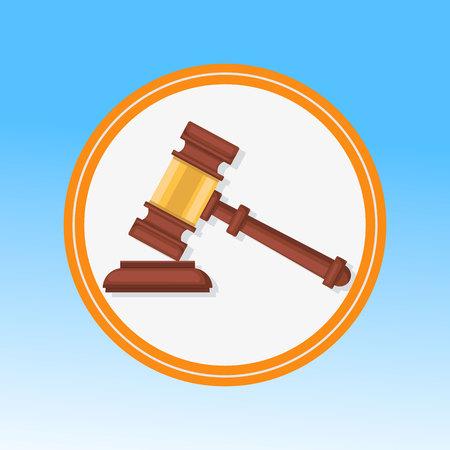 Courtroom Gavel Closeup Flat Vector Illustration. Wooden Hammer, Litigation Process Symbol in Round Frame. Judge, Magistrate Ceremonial Mallet. Reaching Verdict, Sentence, Punishment Ilustração