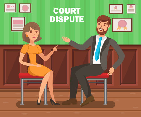 Lawyers Court Dispute Flat Vector Banner Template. Litigation Procedure Typography. Cartoon Barristers, Solicitors, Attorneys Discussion. Trial Opponents Objections, Counter Arguments Illustration