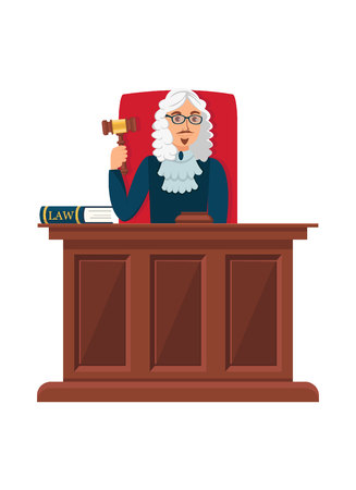Judge Sitting at Wooden Table Flat Illustration. Court Head Holding Ceremonial Gavel, Mallet. Cartoon Magistrate Reaching Verdict, Choosing Punishment Isolated Character. Courthouse Worker Wearing Wig
