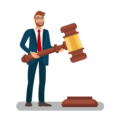 Court Worker Holding Big Gavel Flat Illustration. Rule of Law Metaphor, Symbol. Male Lawyer, Solicitor, Barrister, Attorney Executing Justice. Cartoon Magistrate with Ceremonial Mallet, Hammer,