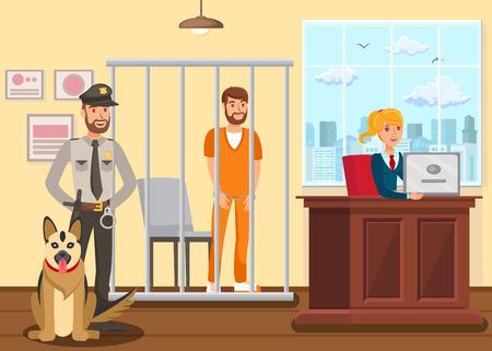 Policier gardant l'illustration vectorielle de suspect. Agent de police, berger allemand dans les personnages plats de la salle d'audience. Condamné menotté debout dans une cage, cellule. Procureur féminin, secrétaire prenant des notes Vecteurs