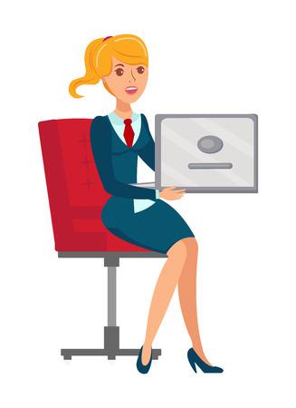Illustration vectorielle plane d'employé de bureau féminin. Femme d'affaires de dessin animé montrant la présentation sur ordinateur portable. Avocat, comptable assis dans un fauteuil caractère isolé. Représentant du comité d'administration