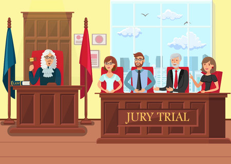Jury Trial in Process Flat Vector Illustration. Jurors and Judge Cartoon Characters. Litigation Courtroom Interior. Magistrate in Wig Holding Wooden Gavel. Guilty, Innocent Collective Decision Ilustrace