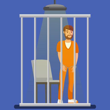 Prisoner behind Metal Bars Vector Illustration. Handcuffed Jailed Man Standing in Cell, Cage Cartoon Character. Imprisoned Bearded Lawbreaker, Culprit, Thief, Robber Wearing Orange Uniform Illustration