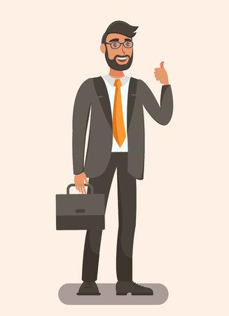 Hombre elegante que sostiene la ilustración plana del maletín. Hombre barbudo mostrando como gesto. Empresario de dibujos animados, abogado, banquero personaje aislado. Oficial adulto seguro, código de vestimenta formal