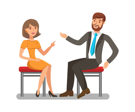 Man, Woman Conversation Flat Vector Illustration. Pretty Lady Having Discussion with Handsome Boy. Elegant Girl Arguing with Opponent Isolated Characters. Friendly Chat, Family Couple Dialogue Illusztráció
