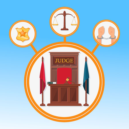 Court System Symbols Flat Vector Banner Template. Police Officer Badge, Handcuffed Hands, Scales Isolated Illustrations Set. Judge Working Place Typography. Justice, Fair Trial Poster Design Layout Illustration