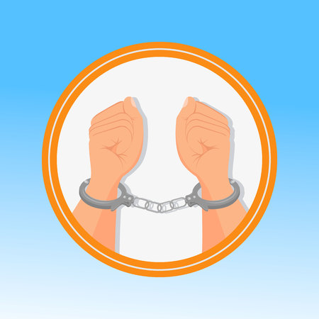 Handcuffed Hands, Fists Flat Vector Illustration. Opposition, Rebels Persecution Symbol in Round Frame. Human Rights Violation, Incarceration, Bondage Isolated Sign. Slave, Hostage, Captive Detention Illustration