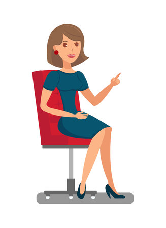 Pretty Woman Sitting in Chair Flat Illustration. Elegant Lady, Girl with Raised Index Finger Isolated Character. Official Female Dress Code. Businesswoman Fashionable Classic Outfit