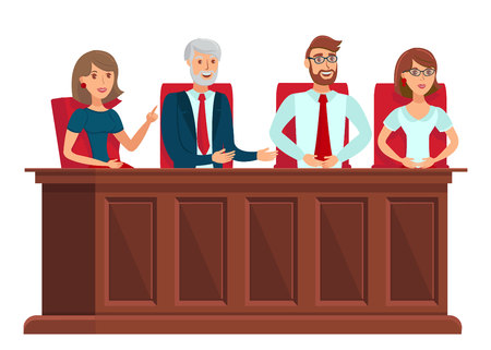 Jury Trial Representatives Vector Illustration. Male and Female Jurors, Experts Sitting at Table. Board of Management, Committee of Directors at Work. Examining Commision Specialists