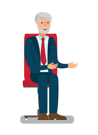 Elderly Man Sitting in Chair Flat Illustration. Cartoon Grey-Haired Adult Isolated Character. Conversation, Interview Hands, Palms Gestures. Experienced Expert, Grandfather in Official Dress Code