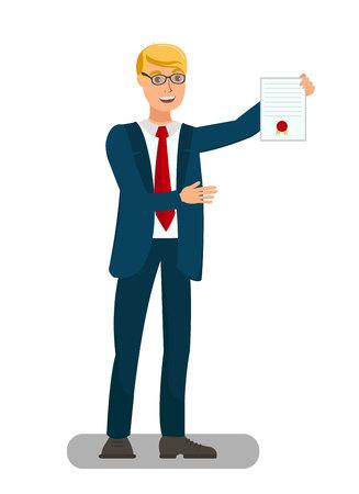 봉인 된 문서 평면 그림을 보여주는 변호사. 체포 영장을 제시하는 검사는 고립 된 캐릭터입니다. 변호사, 소송 과정에서 서류 증명을 보여줍니다. 대학원생 자랑 디플로마