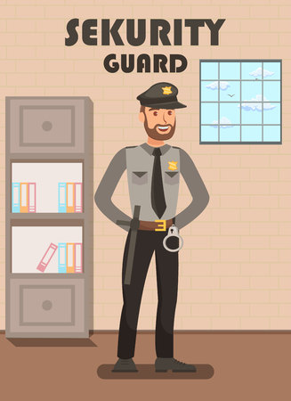 Security Guard in Uniform Flat Poster Template. Policeman, Police Officer in Department Cartoon Character. Bodyguard Equipped with Handcuffs, Baton. Prisoners Convoy, Escort Service Staff, Personnel