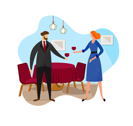 Happy Couple Having Romantic Date in Fine Dining Restaurant They Drink Wine and Clinking Glasses, Cheers. Man and Woman Drinking Red Wine Together. Celebration. Cartoon Flat Vector Illustration. Icon.