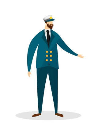 Full Height Portrait of Young Bearded Sea Captain Character Isolated on White Background. Faceless Man of Nautical Profession in Marine Cap and Uniform. Cartoon Flat Vector Illustration, Clip Art.