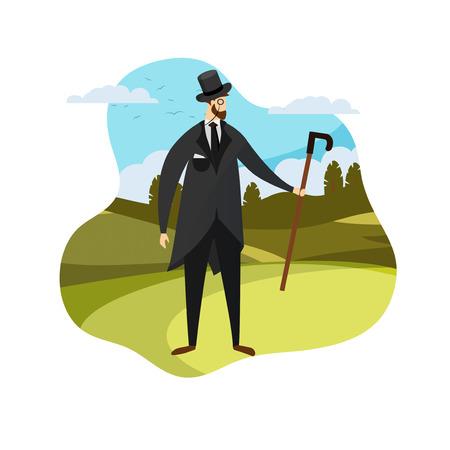 Hombre barbudo del siglo XIX de pie en el fondo del paisaje de la naturaleza. Ropa de caballero inglés en traje elegante, sombrero alto, monóculo, bastón. Ilustración de Vector plano de dibujos animados de moda masculina vintage, icono
