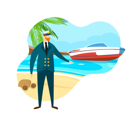 Brave Bearded Man in Sea Captain Suit and Cap Stand at Tropical Sandy Beach with Coconut Palm and Motor Boat on Seaside Background. Marine Landscape. Traveling. Cartoon Flat Vector Illustration, Icon. Иллюстрация