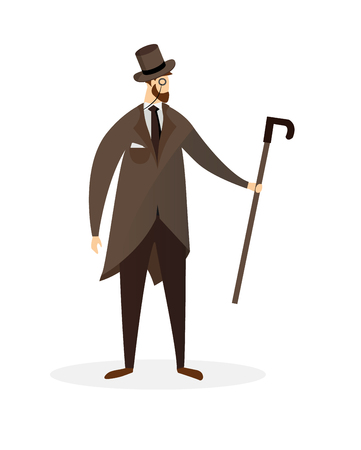 Elegant Proud Man of Victorian Era. Gentleman in Frock Coat, Top Hat and Monocle Holding Cane in Hand Isolated on White Background. Fashioned Dandy Character Cartoon Flat Vector Illustration, Clip Art
