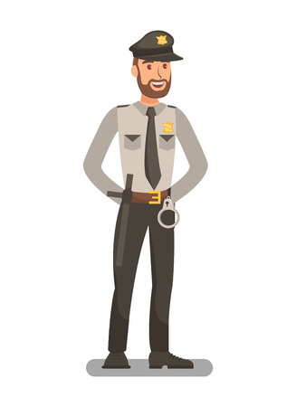 Police Officer in Uniform Flat Vector Illustration. Policeman, Bodyguard Cartoon Character. Security Guard Equipped with Handcuffs, Baton. Safety Staff, Personnel. Court Bailiff, Constable, Sheriff