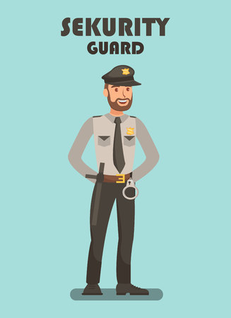 Security Guard on Mission Vector Poster Template. Police Officer Typography. Bodyguard Equipped with Handcuffs, Baton, Uniform. Policeman, Police Staff, Personnel. Sheriff, Bailiff, Sergeant