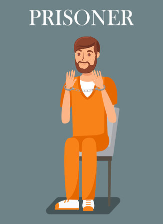Prisoner, Convicted Person Flat Banner Template. Jailed Male Cartoon Character. Bearded Offender, Lawbreaker Wearing Orange Uniform. Suspected Thief, Robber Showing Handcuffed Hands Illustration