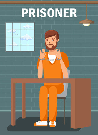 Prisoner Sitting in Jail Cell Flat Poster Template. Bearded Male in Interrogation Room. Convicted Man, Suspect, Lawbreaker Wearing Handcuffs. Imprisoned Bearded Thief, Robber in Orange Uniform Illustration