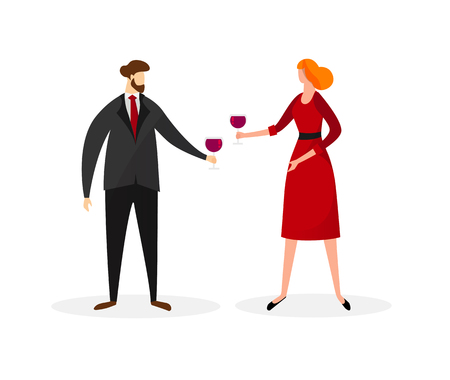 Young Man and Woman in Festive Dressing Clinking Glasses with Red Wine Isolated on White Background. People Celebrating. Party, Loving Dating Characters. Cartoon Flat Vector Illustration. Clip Art. Ilustração