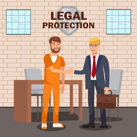 Legal Advisor, Lawyer Service Flat Banner Template. Law Company, Firm Advertising Typography. Solicitor Meeting Imprisoned Defendant Cartoon Characters. Arrested Client, Attorney Conversation in Cell