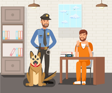 Prisoner and Police Officer Flat Illustration. Security Guard with German Shepherd on Mission. Interrogation Room Interior. Arrested, Convicted Male in Handcuffs and Uniform Waiting for Advocate