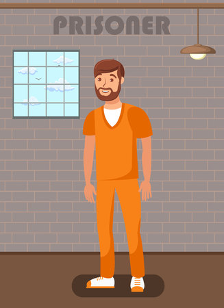 Jailed Man in Prison Cell Flat Poster Template. Suspect, Convict in Interrogation Room. Lawbreaker, Offender Waiting for Lawyer, Legal Defender. Imprisoned Bearded Culprit, Robber in Orange Uniform