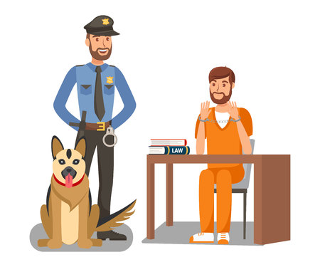 Policeman Guarding Criminal Vector Illustration. Cartoon Police Officer, German Shepherd Dog on Duty. Handcuffed Man Sitting at Desk Isolated Character. Court Convoy, Escort Services