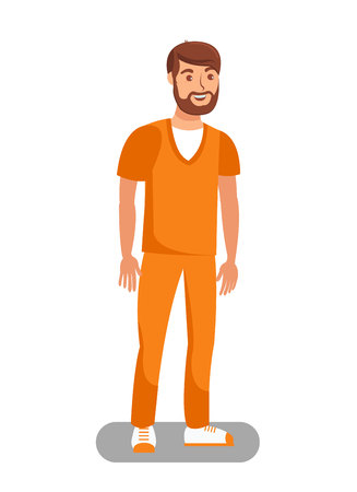 Prisoner Released on Bail Flat Vector Illustration. Unchained Lawbreaker, Offender Cartoon Character. Convict Wearing Orange Uniform. Bearded Male Recidivist, Inmate Free form Detention Ilustração