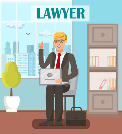 Lawyer, Legal Advisor Flat Vector Banner Template. Cartoon Male Attorney with Raised Index Finger Gesture. Solicitor, Barrister, Advocate Having Court Defense Idea. Law Company, Firm, Office Interior