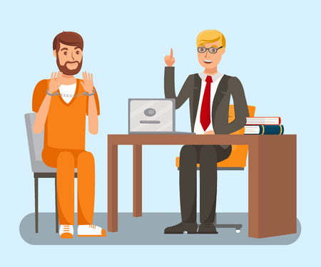 Lawyer Talking to Client Flat Vector Illustration. Cartoon Attorney Discussing Criminal Case with Arrested Suspect. Handcuffed Defendant Planning Defense Strategy. Preparing for Court Litigation Illustration