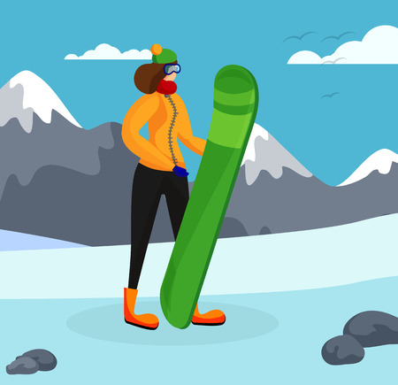 Young Sportswoman with Snowboard in Hands Posing on Beautiful Mountains Background. Sporting Leisure, Outdoors Activity, Female Character Spend Time in Highland Resort Cartoon Flat Vector Illustration