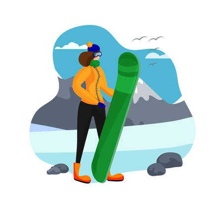 Woman Dressed in Winter Clothing and Glasses Holding Snowboard on Beautiful Highland Background. Snowboarding, Female Character Snowboard Rider, Sportswoman. Cartoon Flat Vector Illustration. Icon