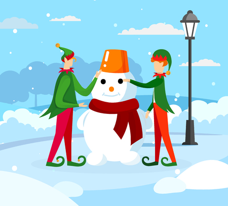 Cute Elves Santa Claus Helpers Playing on Winter Day Making Funny Snowman on Street with Snowdrifts Around. Christmas Holiday Season Scene, Greeting Card Characters Cartoon Flat Vector Illustration.