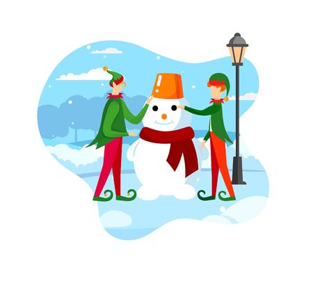 Santa Claus Helpers Playful Elves Making Snowman on Street at Winter Day. Holidays Season Outdoors Activity, Festive Mood. Design Element for Xmas Decoration. Cartoon Flat Vector Illustration. Icon