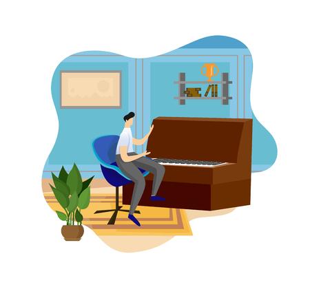 Uomo che suona il pianoforte in legno al fondo interno dell'interno. Lezione musicale in aula. Giovane artista che esegue la composizione musicale. Ragazzo di talento, hobby creativo. Cartoon piatto illustrazione vettoriale, Icon