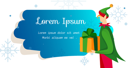 Merry Christmas Background with Boy Elf Character in Funny Costume Holding Wrapped Gift. Promo Flyer Template with Snowflakes and Brush Stroke. Cartoon Flat Vector Illustration. Horizontal Banner
