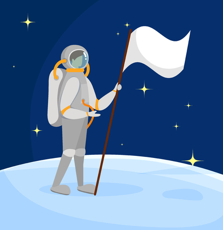 Astronaut Standing on Moon Surface with White Flag in Hand on Starry Dark Blue Sky Background. Outer Space Exploration. Cosmic Adventure, Space Mission and Traveling. Cartoon Flat Vector Illustration.