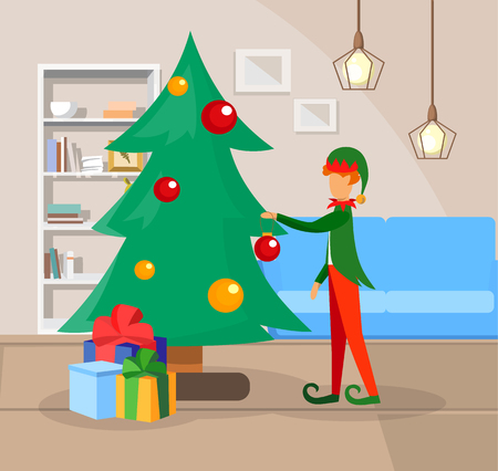 Cute Ginger Haired Boy Character in Costume of Fairy Tale Elf Decorating Christmas Tree with Many Gifts at Home. Festive Season, Preparation for Holiday Celebration. Cartoon Flat Vector Illustration.