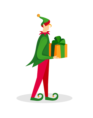 Christmas Elf Character Boy in Green Costume and Funny Hat Holding Gift in Hands Isolated on White Background. Fairy Tale Xmas Personage with Wrapped Present Cartoon Flat Vector Illustration. Clip Art