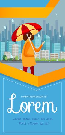 Young Girl Stand on Street with Umbrella in Rainy Day. City View Background. Flyer Template, Poster. Female Faceless Character Walk in Autumn Season. Cartoon Flat Vector Illustration. Vertical Banner.