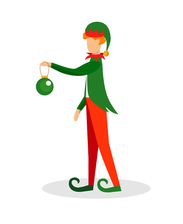 Cute Dwarf or Elf Character in Cute Green Costume Holding Decoration Ball for Christmas Tree Isolated on White Background. Design Element for Xmas, New Year. Cartoon Flat Vector Illustration. Clip art