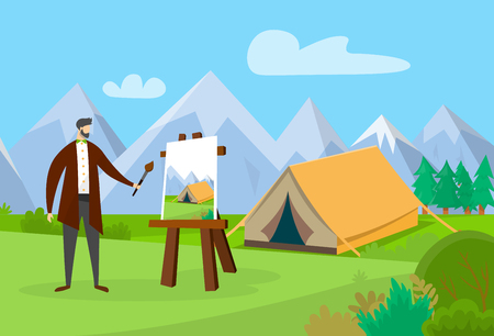 Male Artist Working on Painting Picture Outdoors. Man Drawing Scenery on Nature Landscape Background with Camping Tent and Mountains. Faceless Character on Plein Air. Cartoon Flat Vector Illustration. Reklamní fotografie - 123089346