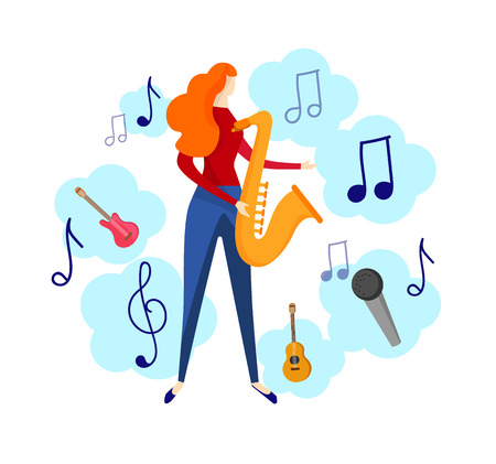 Female Character Playing Jazz or Blues Music by Saxophone Isolated on White Background. Musical Icons Around. Young Girl Musician Prepare for Festival Party. Cartoon Flat Vector Illustration, Clip Art