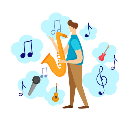 Colorful Modern Male Character Playing Jazz by Saxophone Isolated on White Background. Musical Icons Around. Music Fest Concept. Sax Musician, Festival Party Cartoon Flat Vector Illustration, Clip Art