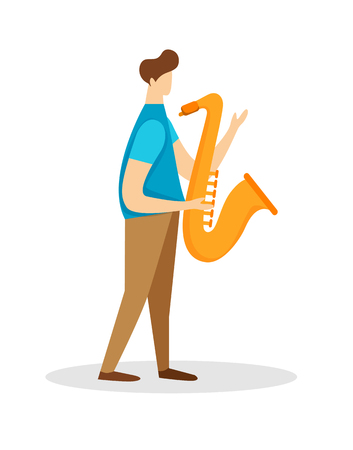 Musician Male Character Playing Saxophone Isolated on White Background. Man with Horn, Young Instrumentalist, Festival Jazz Music Player. Performance Soloist Cartoon Flat Vector Illustration, Clip Art