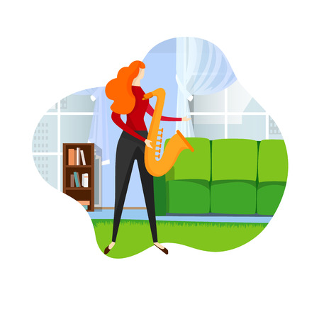 Female Saxophonist Playing Classical Jazz Melody on Sax. Jazz Woman Concept. Talented Girl Having Musical Training at Classroom or at Home. Faceless Character. Cartoon Flat Vector Illustration, Icon.